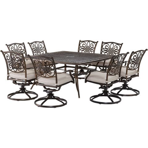 Agio Renditions 9-Piece Set with 8 Swivel Rockers and 60-in. Cast-Top Table, Featuring Sunbrella® Fabric in Silver