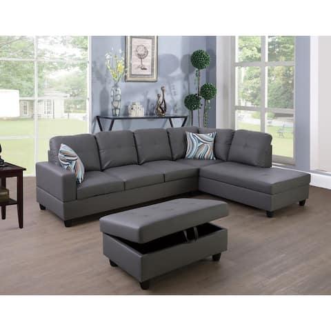 3-Pieces Sectional Sofa Set,Right Facing Grey(09516B)