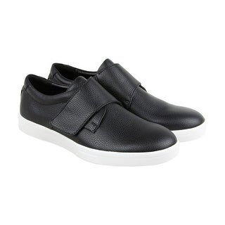 Calvin Klein Iman Tumbled Mens Black Leather Slip On Sneakers Shoes