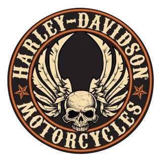 Harley-Davidson Embossed Flying Skull Button Round Tin Sign, 14 inch 2011281 - 14""