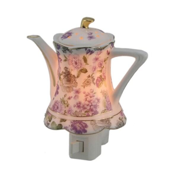 Garden Romance Purple Flower Porcelain Teapot Plug In Night Light - White