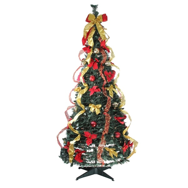 Pop Up Christmas Trees With Lights: Shop 6' Pre-Lit Gold And Red Decorated Pop-Up Artificial