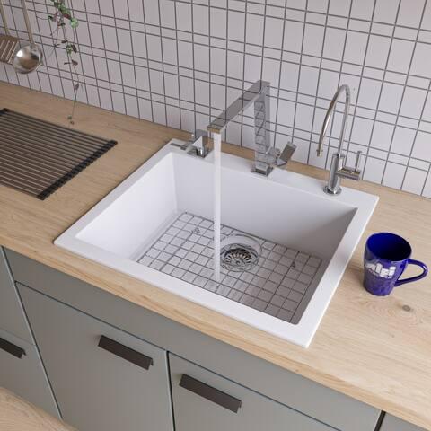 ALFI AB2420DI-W White Granite Composite 24-inch Drop-in Single Bowl Kitchen Sink