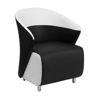Offex Black Leather Reception Chair with White Detailing [OF-ZB-7-GG]