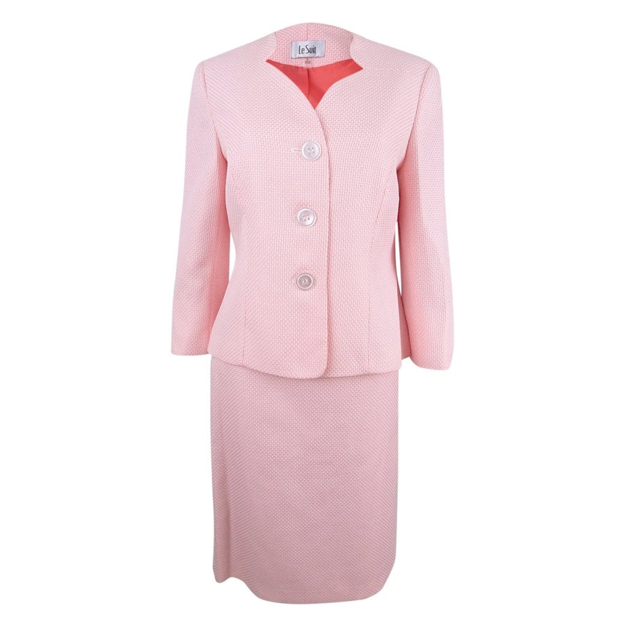 Le Suit Womens Textured Three-Button Skirt Suit
