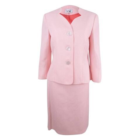 Le Suit Women's Textured Three-Button Skirt Suit