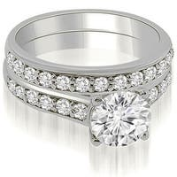1.10 cttw. 14K White Gold Cathedral Round Cut Diamond Bridal Set