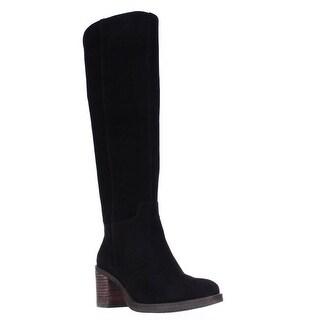 Lucky Brand Ritten Block Heel Riding Boots, Black