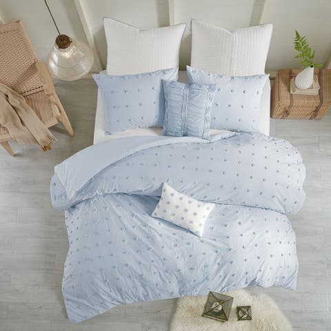 Urban Habitat Maize Blue Cotton Jacquard Duvet Cover Set