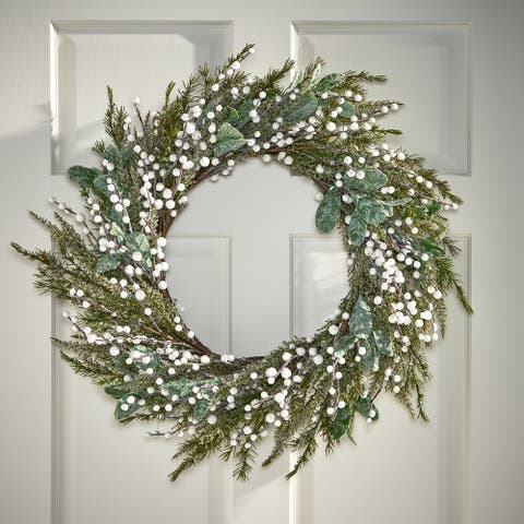 "Millen Indoor 28"" Artificial Wreath with Berries by Christopher Knight Home - Green + White"