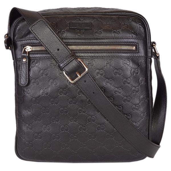 03a18c23b99a Gucci 201448 Brown Leather GG Guccissima Crossbody Messenger Bag Purse