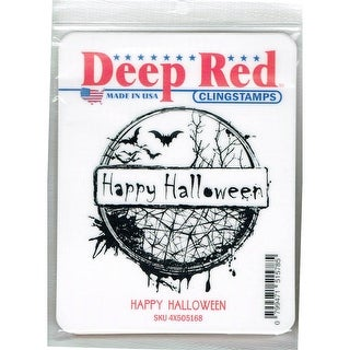 Deep Red Stamps Happy Halloween Rubber Cling Stamp - 3 x 3.2