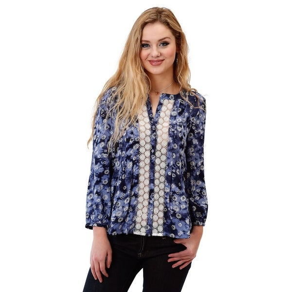29e0db1254418 Shop Roper Western Shirt Womens 3 4 Daisy Button Blue - Free Shipping On  Orders Over  45 - Overstock - 18403371