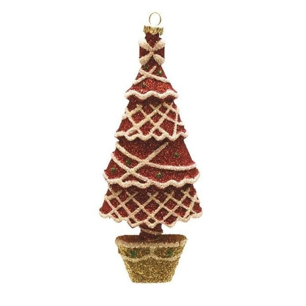 "7"" Merry & Bright Red, White and Gold Glitter Shatterproof Christmas Tree Ornament"