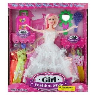 Daily Basic Kids Bride Fashion Doll with Pink Streaks And Dresses, Hairbrush, Suitcase & Many More