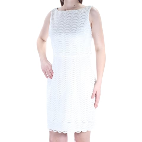 AMERICAN LIVING Womens Ivory Lace Sleeveless Jewel Neck Above The Knee Sheath Wear To Work Dress Size: 10