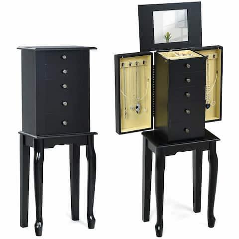 Gymax Mirrored Armoire Jewelry Cabinet Free Standing Organizer Storage