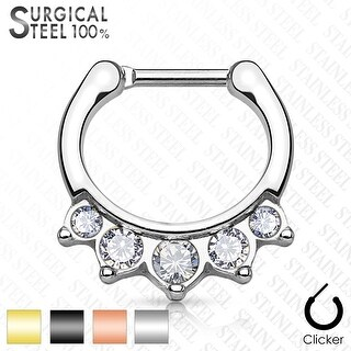 Hanging Crystals Surgical Steel Septum Clicker - 16GA (Sold Ind.)
