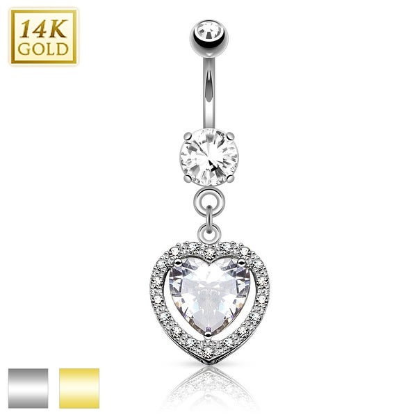 14Kt Gold Heart Dangle with Heart Shaped Solitaire CZ Navel Ring - 14GA (Sold Ind.)