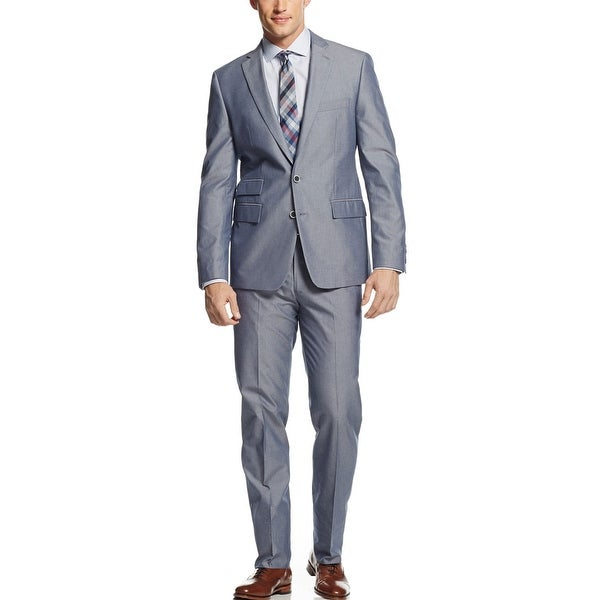 Ryan Seacrest Distinction Slim Fit Blue Cotton Suit 36 Short 36S Pants 29W