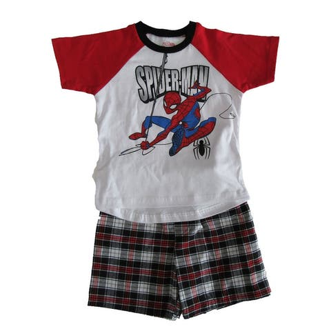 Marvel Red White Spider-Man Short Sleeve Outfit Little Boys