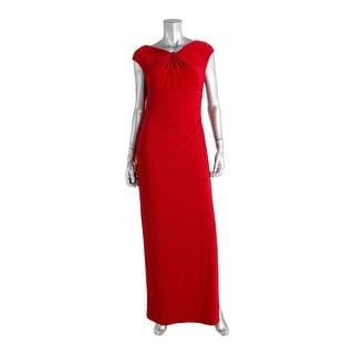 Lauren Ralph Lauren Womens Knot Front Ruched Evening Dress