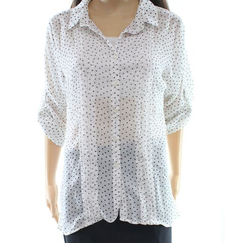 Angie Black White Womens Size Large L Open-Back Button Down Shirt