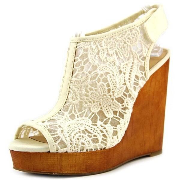 Lucky Brand Rezdah2 Women Open Toe Canvas Tan Wedge Heel