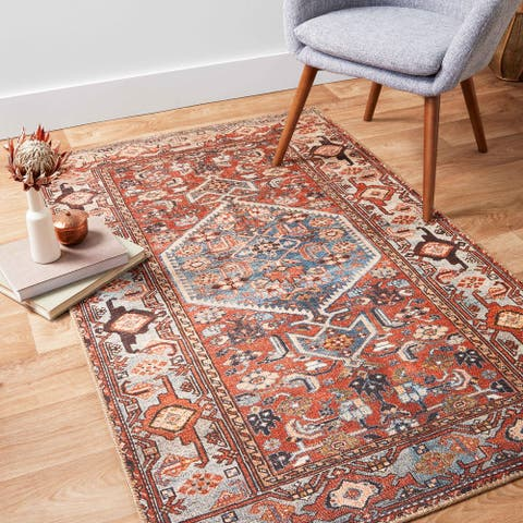 Alexander Home Dhanya Traditional Distressed Printed Area Rug