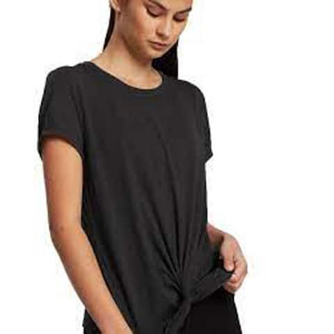 Calvin Klein Women's Performance Twist Front Tee, Black, Large