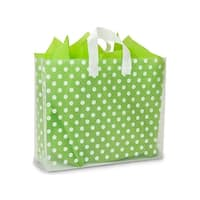 """Pack Of 100, Vogue Size 16 x 5 x 12"""" Polka Dots Plastic 4 Mil Shopping Bags W/6 Mil Handle"""