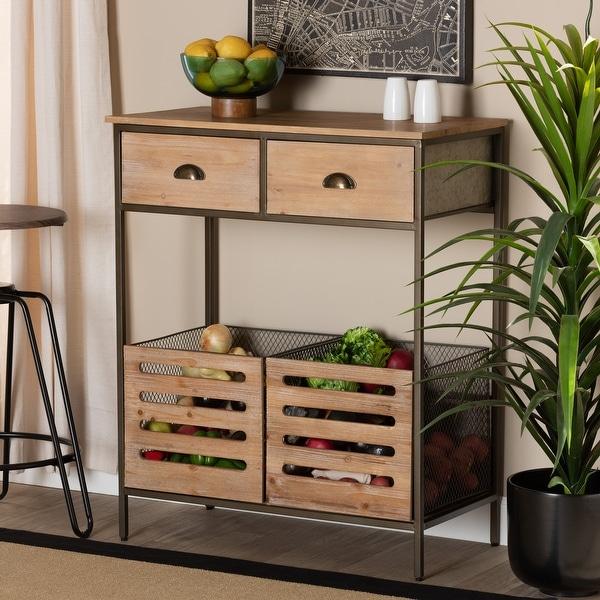 Abram Modern Industrial 2-Drawer Multipurpose Kitchen ...