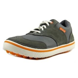 Crocs Preston Men Round Toe Leather Gray Golf Shoe
