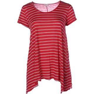 Allen Allen Womens Plus Slub Striped Tunic Top - 1X