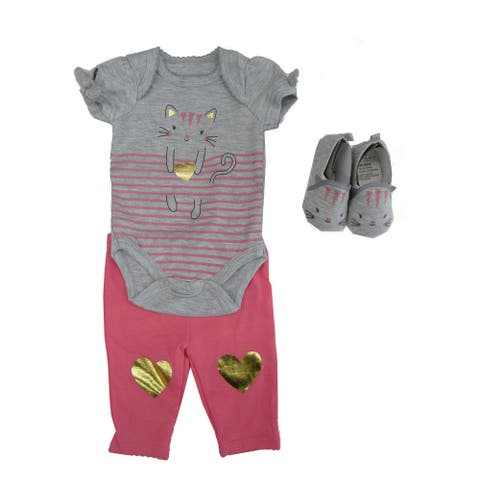 Weeplay Baby Girls Gray Pink Kitty Print Bodysuit Pants Shoes Outfit