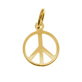 22K Gold Plated Sleek Peace Sign Charm - 9mm Diameter (6)