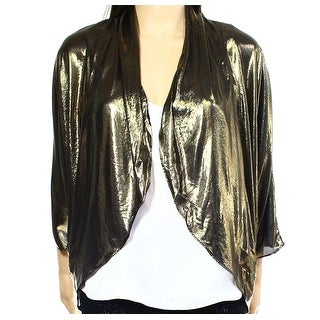 MSK NEW Gold Womens Size Small S Open-Front Metallic Ruched Shrug