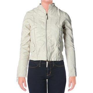 Studio M Womens Faux Leather Solid Motorcycle Jacket - XS