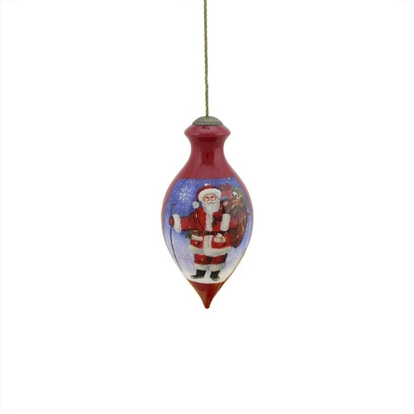 "6"" Ne'Qwa ""Santa Claus Is Coming to Town"" Hand-Painted Glass Christmas Ornament #7141128"