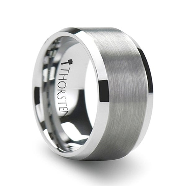 THORSTEN - SHEFFIELD Flat Beveled Edges Tungsten Ring with Brushed Center - 12mm