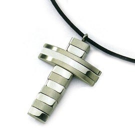 Chisel Brushed and Polished Stainless Steel Cross Necklace on 18 Inch Leather Cord (2 mm) - 18 in