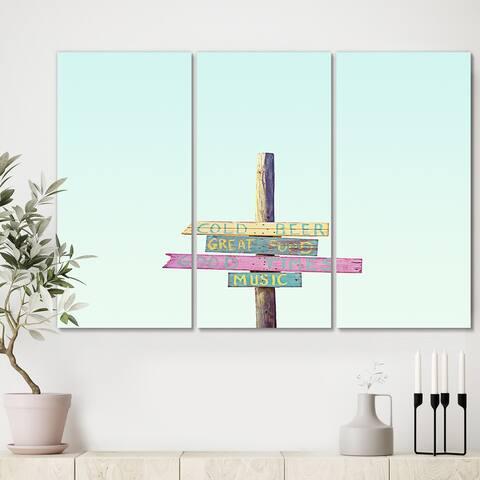 Designart '4 Thruths Of Life' Cottage Canvas Art Print - 36x28 - 3 Panels