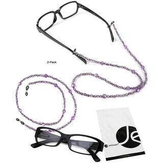 JAVOedge (2 Pack) Purple Beaded Decorative Eyeglasses / Glasses Lanyards / Neck Chain - light purple (2 pack)