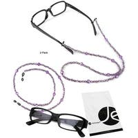 JAVOedge (2 Pack) Purple Beaded Decorative Eyeglasses / Glasses Lanyards / Neck Chain - light purple (2 pack)