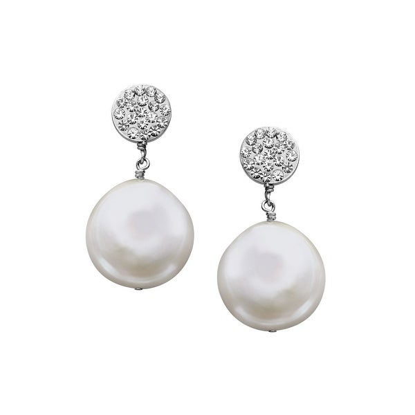 Aya Azrielant Coin Freshwater Pearl Drop Earrings with Swarovski elements Crystals in Sterling Silver