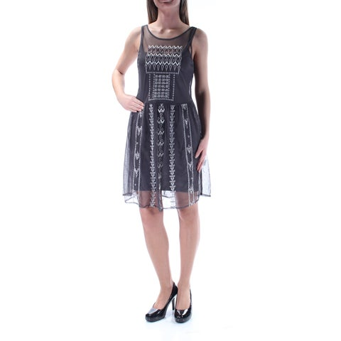 JESSICA SIMPSON Womens Gray Beaded Embroidered Sleeveless Scoop Neck Above The Knee Fit + Flare Evening Dress Size: 2XS