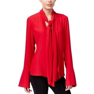 Rachel Rachel Roy Womens Pullover Top Tie-Front Bell Sleeves