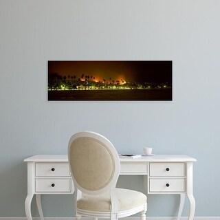 Easy Art Prints Panoramic Images's 'City burning at night, Montecito, Santa Barbara, California' Canvas Art