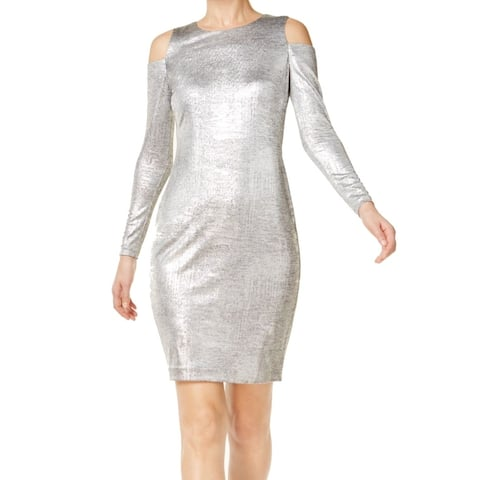 54fc0866 SALE. Calvin Klein Silver Womens Size 12 Cold Shoulder Sheath Dress