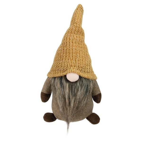 "11"" Brown Thanksgiving Autumn Traditional Sitting Gnome with Marigold Hat - multi"